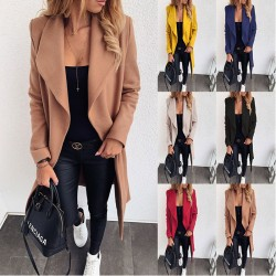 Elegant Solid Color Lapel Mid-length Bandage Woolen Cloth Overcoat Windbreaker Coat