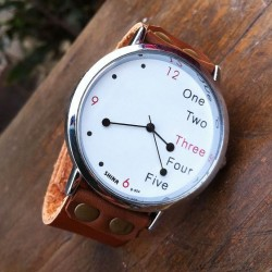 Funny White Dial Leather Watch