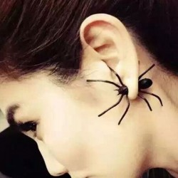 Unusual Punk Style Vivid Big Black Spider Animal Earring Studs