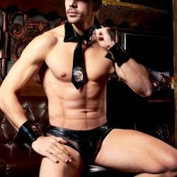 Sexy Leather Men's Policeman Uniform Temptation Cosplay Man Lingerie