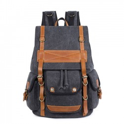 Leisure Travel Large Canvas Backpack Retro Men's Three Pockets Outdoor Rucksack
