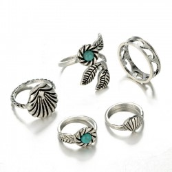 Retro Alloy Blue Pine Shell 5 Sets Leaves Original Bohemia Accessories Ring