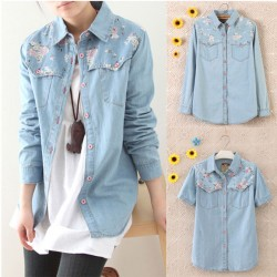 Retro Floral Washed Denim Shirt
