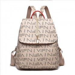 Leisure Vertical Zipper PU Large Printing School Bag Women Student Backpack