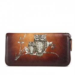 Retro Phone Purse Cowhide Large Handmade Clutch Bag Owl Branch Long Wallet