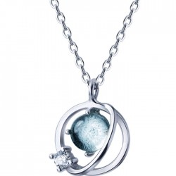 Unique Design Diamond Trend Sweet Circle Crystal Planet Pendant Silver Necklaces