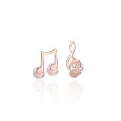 Cute Asymmetrical G-clef Music Note Crystal Silver Earrings For Women