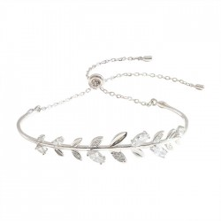 Cute Crystal Diamond Branch Leaves Bangle Silver Romantic Women Bracelet