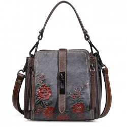 Vintage Double Vertical Zippers Single Buckle 3D Flower Shoulder Bag