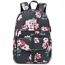 Fashion Flower Print Single Buckle Middle School Bag Large Capacity Waterproof Computer Bag Student Backpack