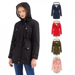 Elegant Autumn Winter Coat Solid Color Hooded Drawstring Draw Back Thicken Cotton Plus Size Velvet Cotton Women Coat