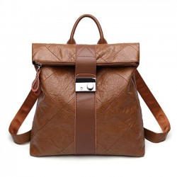 Leisure Brown Multi-function Handbag PU College Backpack