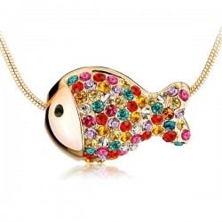 Lovely Colorful Rhinestone Fish Necklace