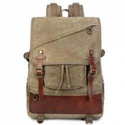 Retro Leisure Oblique Zipper Men's Outdoor Waterproof Large Double Belt Travel Canvas Backpack