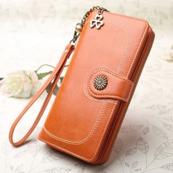 Retro Zipper Women Purse Clutch Bag Ladies Oil Wax Mobile Phone Wallet