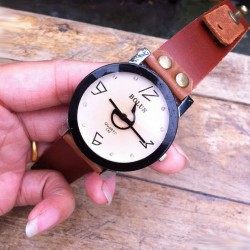 Unique Pointer Rhinestone Handmade Leather Watch