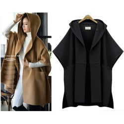 Hooded Batwing Sleeveless Cape Woolen Jacket Large Size Loose Woolen Coat