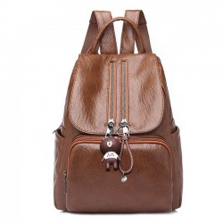 Retro Soft PU Ladies Double Zipper Women's Backpack Brown School Bag