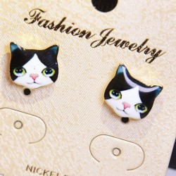 Cute Cat Duck Dog Robot Women Kitty Cartoon Animal Earring Studs