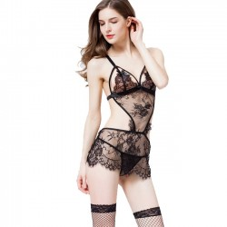 Sexy Lace Lingerie See Through One Piece Black Women's Sleepwear Lingerie