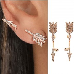 Punk 3D Diamond Exaggerated Split Arrow Girl's Earrings Studs