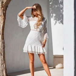 Fresh Hollow Long Sleeves Round Neck Ruffled Skirt Lace Summer Dress