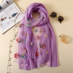 Fresh Embroidered Scarf Multi-Color Flower Summer Silk Women Scarves