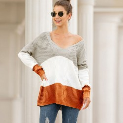 Leisure Knitting V Collar Strapless Shoulder Loose Twist Long Sleeve Stripe Cardigan Women Sweater