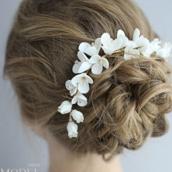 Sweet Bridal Hairpin Flower Ceramic Hair Comb Wedding Hair Accessories