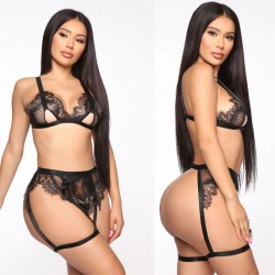 Sexy Black Lace Hollow Underwear Socks Bra Set Women's Lingerie