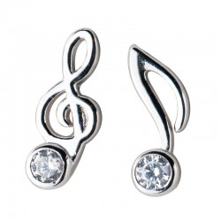 Unique G-clef Music Note Crystal Silver Earrings For Women Asymmetrical Earrings Studs