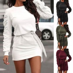 Fashion Pure Color Straps Folds Long Sleeve Autumn Winter Short Dress