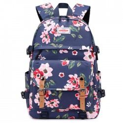 New Double Buckle Flower Print Waterproof Junior School Bag Rucksack Large Capacity Backpack