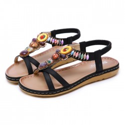 Leisure Bohemia Beaded Holiday Beach Flats Summer Shoes Women's Sandals