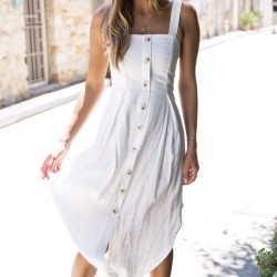 Sweet Sleeveless Strapless Button Strap Lady Long Dress