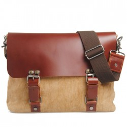 Retro Double Hasp Solid Linen Leather Briefcase Shoulder Bag Messenger Bag
