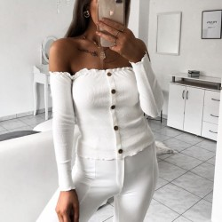 Sexy Off Shoulder Long Sleeve Body-con Women's Tops Coat