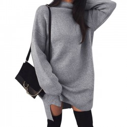 Casual Simple Large Size Loose Knit High Collar Women's Split Dress