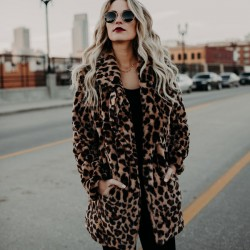 Sexy Faux fur Thicken Autumn Winter Lapel Leopard Women Coat
