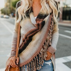 Fashion Women's Long Sleeve Tassel Loose Wool Shawl Sweater