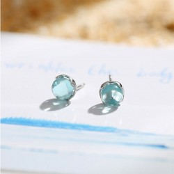 Sweet Tear Water Droplets Crystal Silver Women Earrings Studs