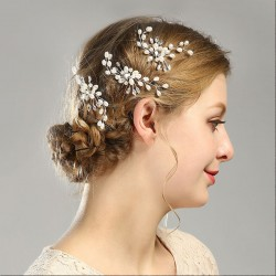 Sweet Leaves Flower Pearl Branch Headband Wedding Hair Accessories Hair Clips