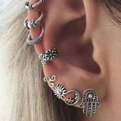 Retro Crown Tortoise Feather Flower Bohemia Shell Anchor Star Moon Sun Earring Clips Leaves Owl Elephant Earrings Studs