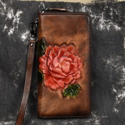 Retro Lady Original Phone Purse Embossing Clutch Bag 3D Red Flower Rose Long Wallet