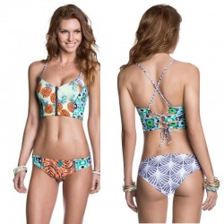 Halter Top Bathing Suit Swimwear Two-sided Bikini Pineapple Printing Sexy Swimsuit