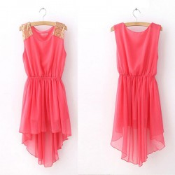 Elegant Sleeveless Chiffon Featuring Sequin Irregular Dress