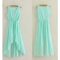 Fashion Perspective Mint Green Irregular Chiffon Dress