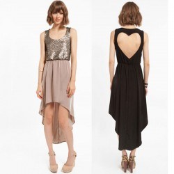 Fashion Back Heart-shaped Stitching Sequins Chiffon Dress