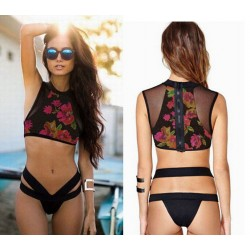 Floral Bathing Suits High Waist Mesh Bikini Print Swimsuits Bikini Set