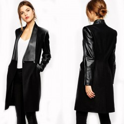 Fashion PU Leather  Long Sleeve Slim Fit Bodycon Coat Jacket